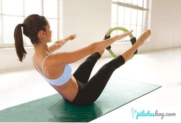 tabla de ejercicios con aro de pilates